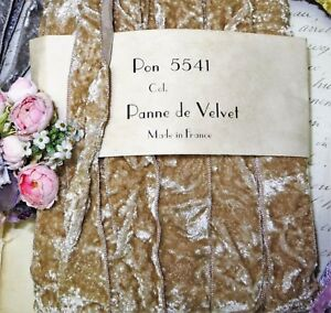 1y Vtg 7 8 French Beige Tan Velvet Ribbon Trim Boho Crushed Panne Vtg Antique