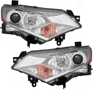 Halogen Headlights Headlight Assembly W bulb Set Pair For 2012 2017 Nissan Quest