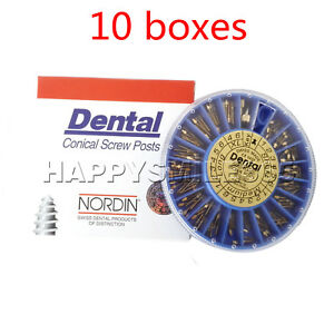 10 Packs Assorted Dental Conical Nordin Screw Posts Kits Refills 24k Gold Plated