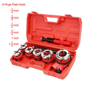 U s Solid Ratchet Pipe Threader Kit Pipe Die Tool Set W 6 Hinge Plate Head