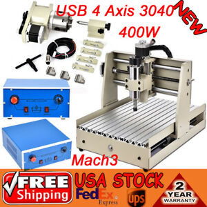 Usb 4 Axis Cnc 3040 Mill Router Desktop Engraver Milling Machine 400w Vfd Mach3