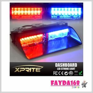 Vehicle Flash Light Red Blue Emergency Dash Warning Police Car 16led 18 Flashing