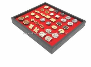 12 New Cufflinks Organizer Display Red Pads With Black Plastic Stackable Trays