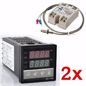 2x Digital 220v Pid Rex c100 Temperature Controller Max 40a Ssr K Thermocouple