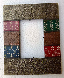 Wood Photo Frame Hand Made Old Picture Photo Frame Metal Fitted Hand Painted Art