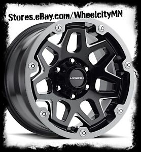 17 Inch Gloss Black Milled Vision 416 Wheels Ford F250 F350 Excursion 8x170 12