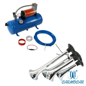 3ft Hose 150 Db Train 125 Psi Kit Truck Air Horn 4 Trumpet 12 Volt Compressor