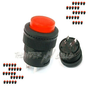 50 X 3a 250v Ac Spst On off 16mm Push Button Switch Red Light 503ad Self lock