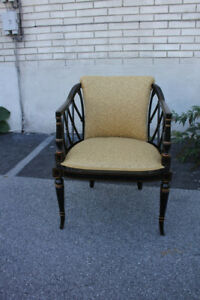 Regency Style Mahogany Hand Painted Side End Accent Armchair