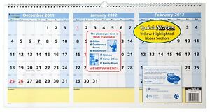 At a glance Quicknotes Recycled Three month Horizontal Wall Calendar Large 2012