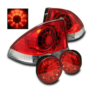 2001 05 Is200 Is300 Red Clear Led Rear Tail Brake Light Trunk Lamp 4pc Set