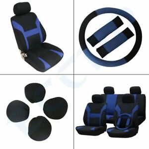 Blue Black Car Seat Cover W headrest steering Wheel belt Pads For Acura