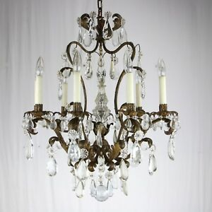 A Louis Xv Gilt Bronze 6 Light Chandelier Antique French Crystal Prisms Italian