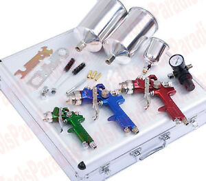 3pc Premium Auto Body Hvlp Air Spray Gun Kit 1 0mm 1 4mm 1 7mm Nozzle