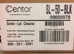 Centor Precise Pak Screw loc Closures Fits 30 40 60 Dram Screw loc Vials 750