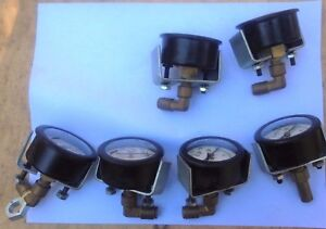 Lot Of 6 Vintage Brass Marshalltown Pressure Gauges Natural Brass Patina Work