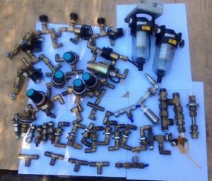 Vintage Lot 13 Pneumatic Fittings Brass Stainless Valves Actuators Air Filters