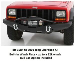 Front Bumper W Built In Winch Plate And Bull Bar Option For 84 01 Cherokee Xj
