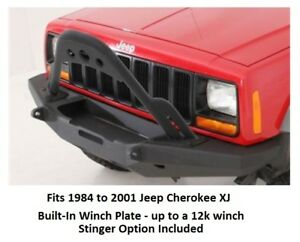 Front Bumper W Built in Winch Plate And Stinger Option For 84 01 Cherokee Xj