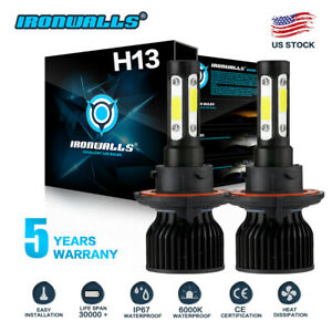 H13 9008 2400w 360000lm Led Headlight Bulb Kit Car Lamp Bulbs Hi lo White 6000k