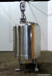 Used stainless Steel Jacketed Tank Approximately 300 Gallons Vertical Dished