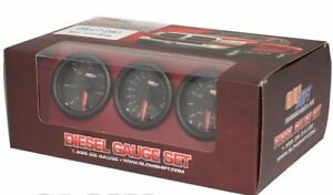 Glowshift Black 7 Color Diesel Gauge Set Boost Pyrometer Egt 100 Fuel Pressure