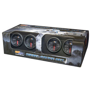 Glowshift Black 7 Diesel 4 Gauge Set W Boost Egt Transmission Temp Fuel Psi