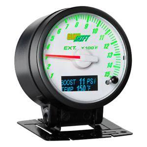 Glowshift 3in1 White Exhaust Gas Temp W Digital Boost Temp Gauge Gs 3g 07