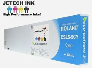Roland Esl5 5 Eco solvent Max3 Compatible 500ml Ink Cartridge Cyan