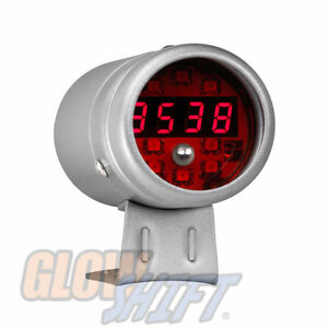 Glowshift Silver Digital Tachometer Rpm W Red Leds Adjustable Racing Shift Light