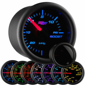 Glowshift 52mm Tinted 7 Color 15 Psi Turbo Boost Vacuum Gauge Gs T70115