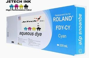 Roland Aqueous Dye Compatible 220ml Ink Cartridge fdy Cyan