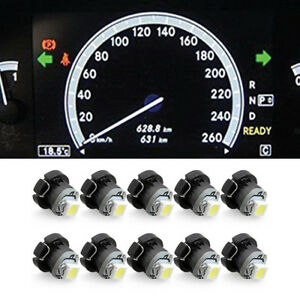 10x White Neo Wedge 1 Smd 1210 Led Car Bulbs T3 Hvac Climate Control Lights Lamp