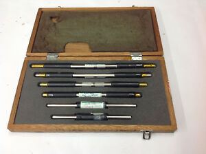 6 piece Unknown Brand 6 11 Outside Micrometer Standards In Wood Box Used