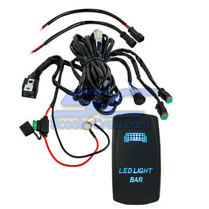 Blue Light Bar Rocker Switch Wire Harness Combo Utv Polaris Rzr 1000 Rzr4 Crew X