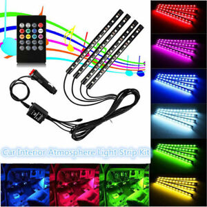 4x 12 Led 7 Color Rgb Strips Sound Activated Car Interior Music Lights Us Stock