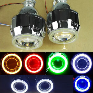Cob Colorful Halo 2 5 Bi Xenon Hid Projector Kit Conversion Lens Angel Eye