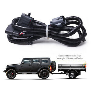 65 Trailer Hitch Wiring Harness Kit W 4 Way Flat Connector Dust Cover For Jeep