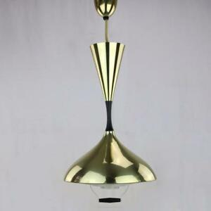 1950s Space Age Flying Saucer Chandelier Light Fixture Progress Brass Vtg Retro