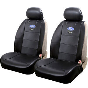 Black Ford Mustang Logo Car Truck Suv Front Sideless Seat Covers Set