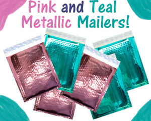 6x10 Pink And Teal Combo Metallic Bubble Mailers Padded Shipping Poly Envelopes