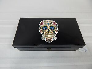 Vintage 10 Black Metal Tin Cash Lock Box