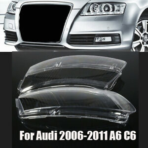 Left Right Headlight Lens Lampshade Pc Shell Replacement For Audi A6 C6 06 11