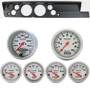 67 69 Barracuda Black Dash Carrier W Auto Meter 5 Ultra Lite Electric Gauges