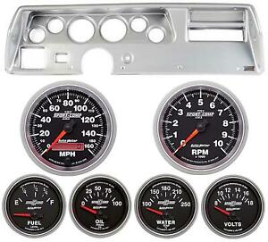 70 72 Chevelle Ss Silver Dash Carrier W Auto Meter Sport Comp Ii Gauges