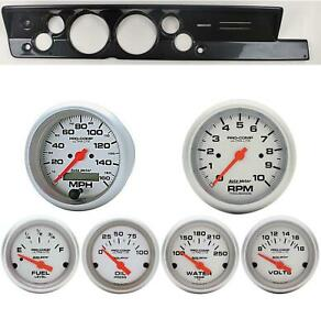 67 69 Barracuda Carbon Dash Carrier W Auto Meter 5 Ultra Lite Electric Gauges