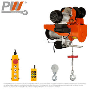 Prowinch 1100 2200 Lbs Electric Rope Hoist W trolley 110 120v Wireless Control