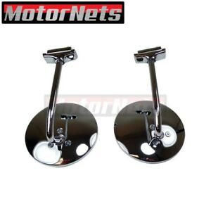 Pair 4 1 2 Round Long Arm Stainless Peep Mirror Door Side View Hot Rod Edge