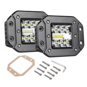 4 Flush Mount Spot Led Pods Work Light Bar Driving Quad Row Offroad Truck 4x4wd