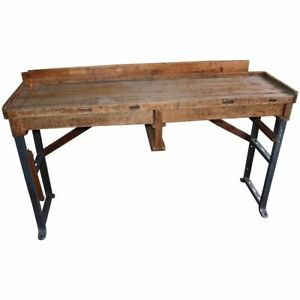 Desk Table For Professional Jeweler With Maple Top Steel Legs And Two Drawers